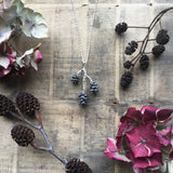 Sterling silver triple pine cone necklace