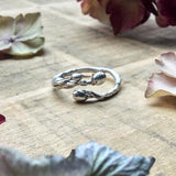 Silver Twig and blossom ring