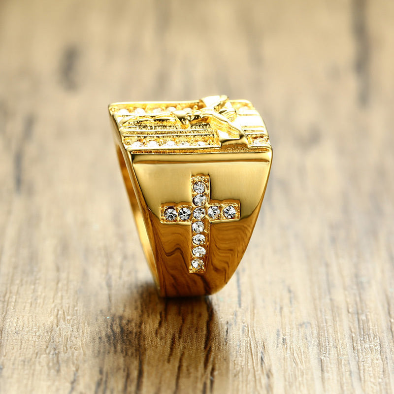 Jesus Cross White Cubic Zirconia Ring for Men Gold Tone Stainless Steel Crucifix CZ Band Male Jewelry Anel Aneis Masculinos - Csieraden