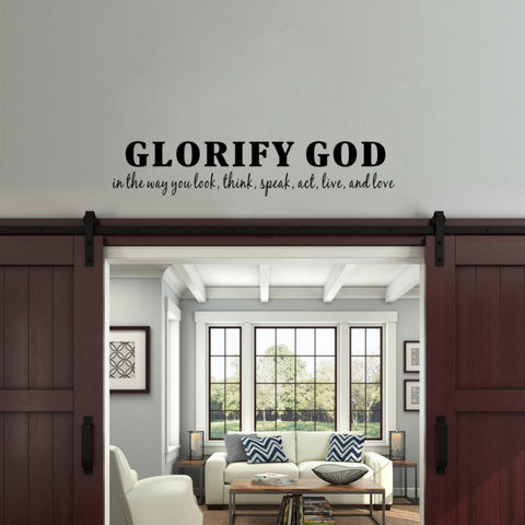 Glorify God muur sticker 11x56cm
