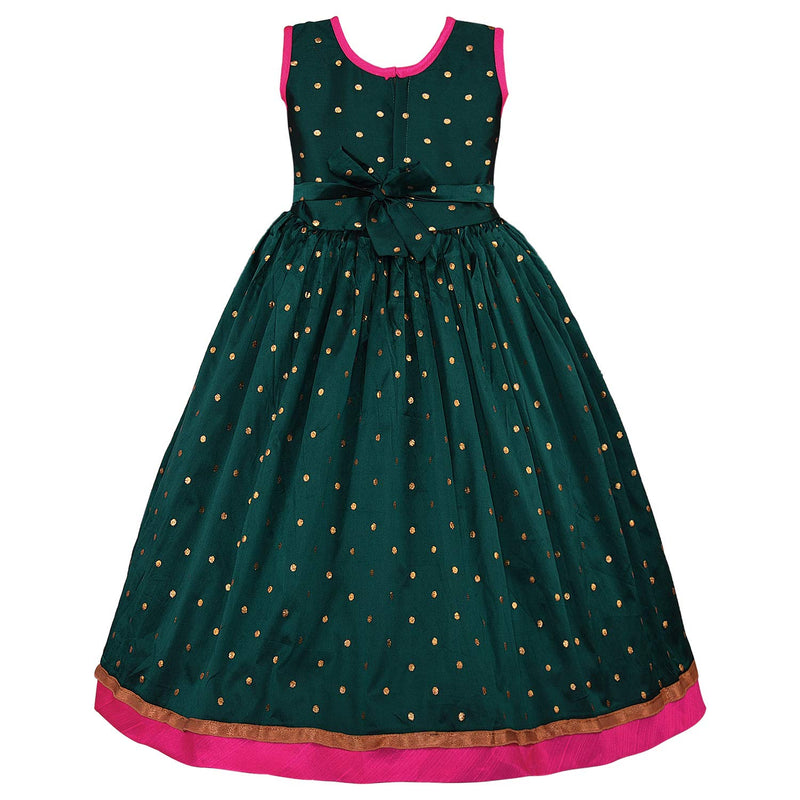 Girls Party Wear Long Dress Birthday Gown for Girls LF154pgrn