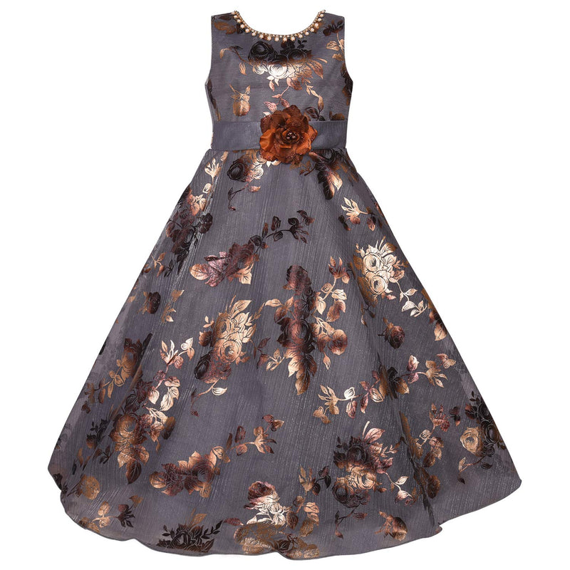 Girls Party Wear Gown  Birthday Dress  for Girls LF151gry