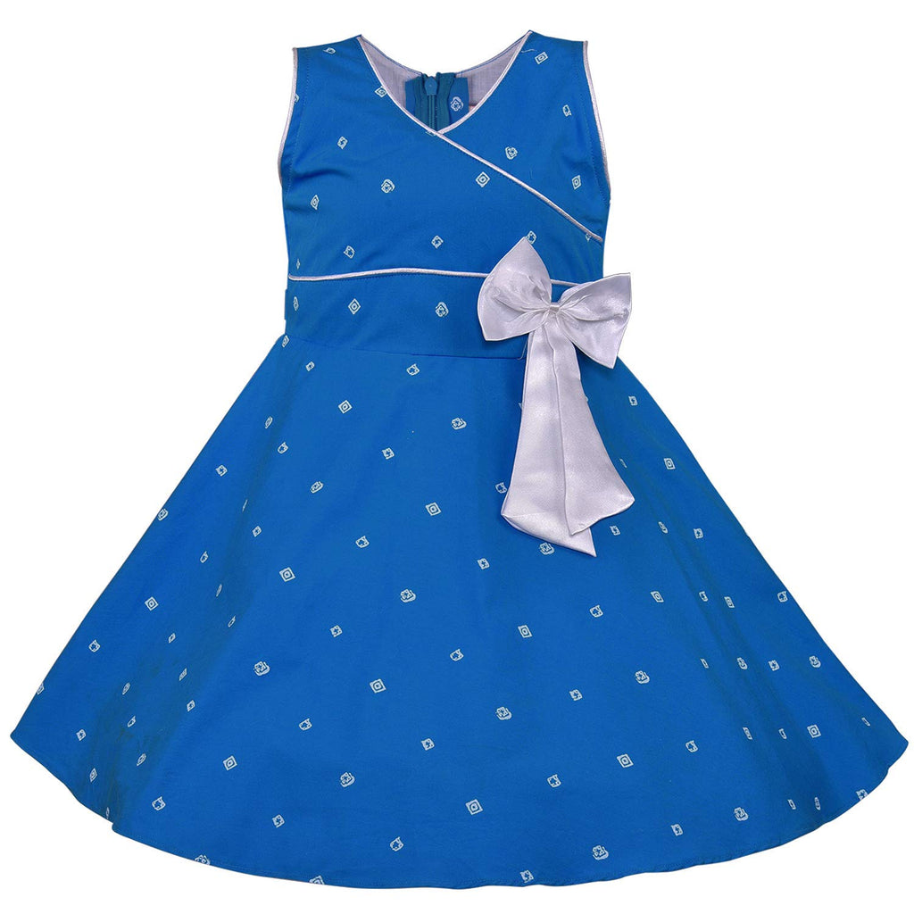Baby Girls Cotton Frock Casual Dress for Girls-ctn054blu