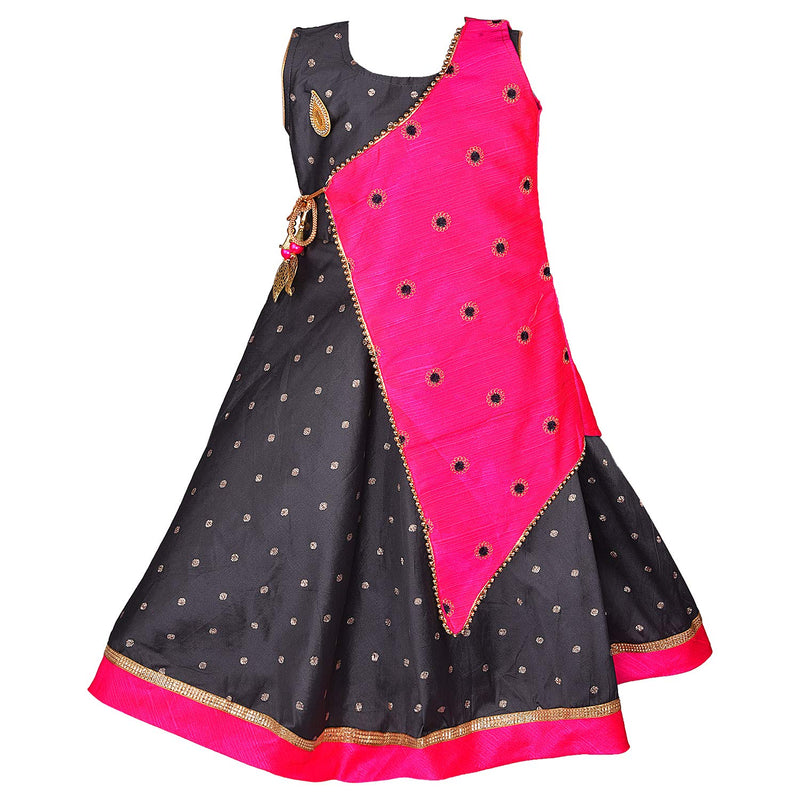 Girls Party Wear Long Dress Birthday Gown for Girls LF154pnk