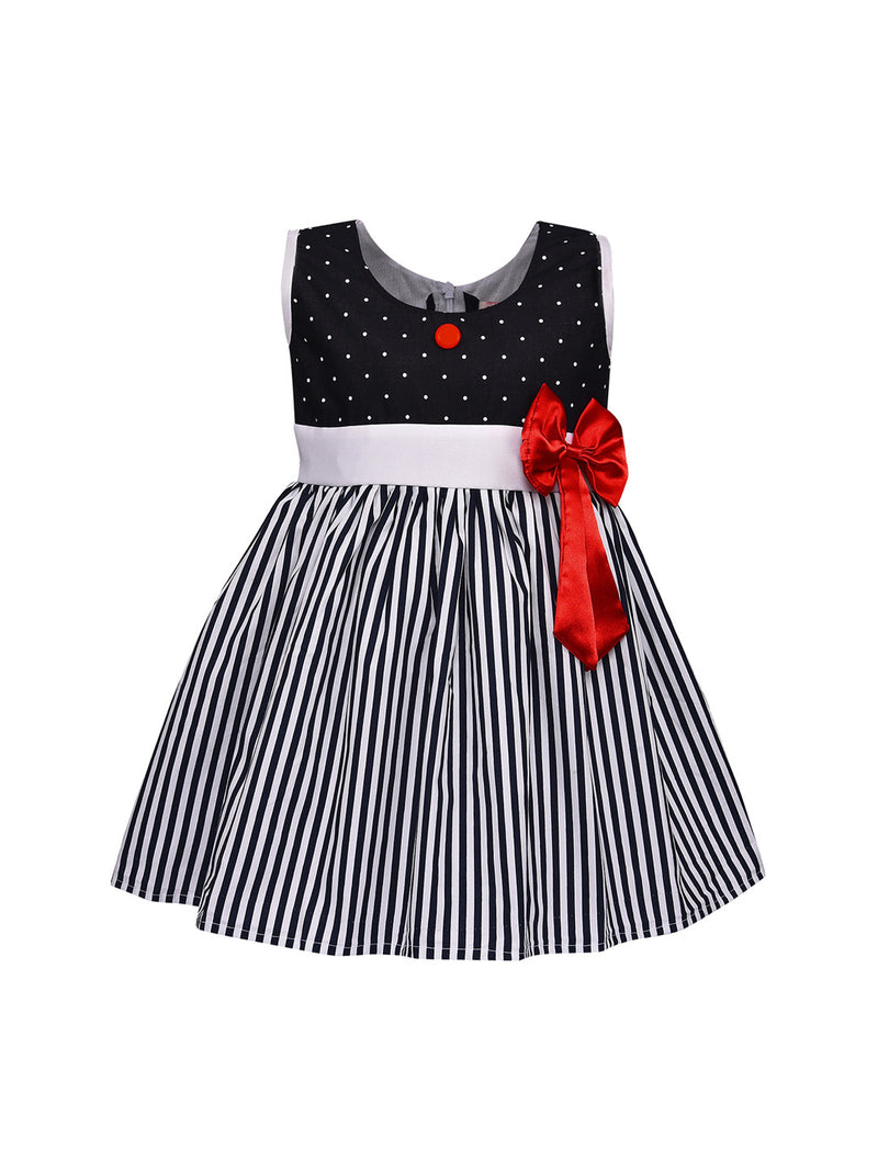 Baby Girls Cotton Frock Casual Dress for Girls-ctn317blk