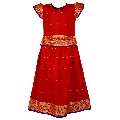 Girl's Traditional Art Silk Stitched Lehenga Choli for Girls-gc204rd