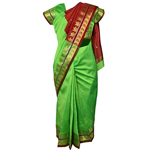 Traditional Art Silk Stitched Saree for Girls-sr01grn