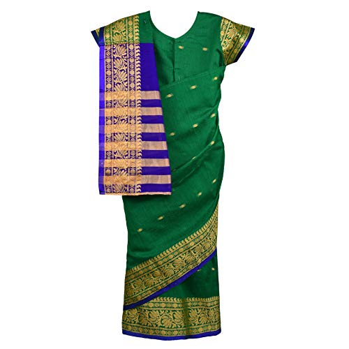 Traditional Art Silk Stitched Saree for Girls-sr02grn