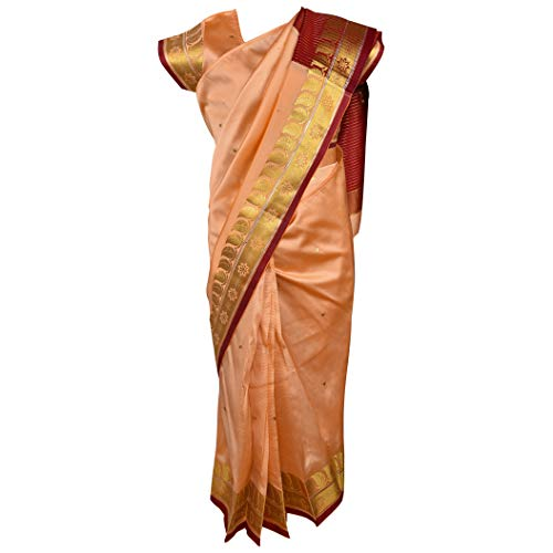 Traditional Art Silk Stitched Saree for Girls-sr01bge