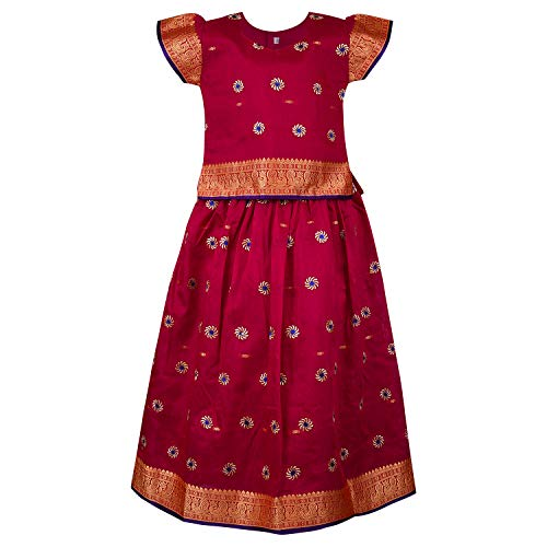 Girl's Traditional Art Silk Stitched Lehenga Choli for Girls-gc203mrn