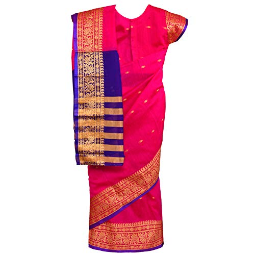 Traditional Art Silk Stitched Saree for Girls-sr02pnk