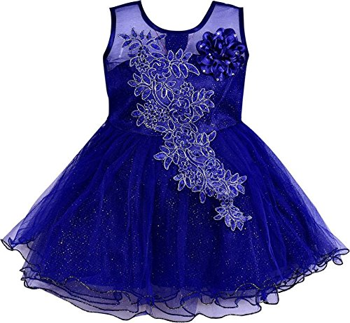 Baby Girls party wear Frock Dress Fe1051blu -  Wish Karo Dresses