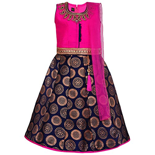 Girl's Traditional Art Silk Stitched Lehenga Choli for Girls-gc202pnk