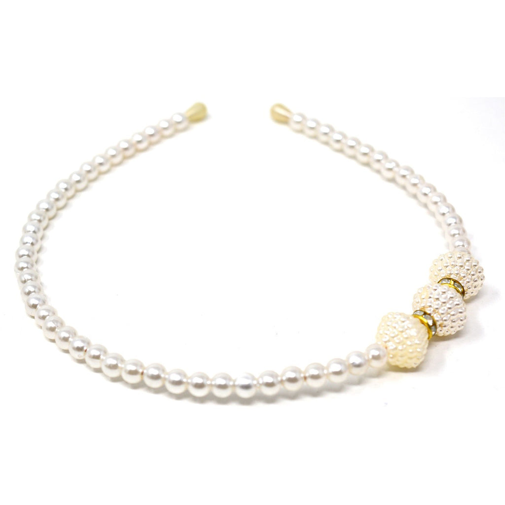 White Imitation Pearl Headband -  Wish Karo Dresses