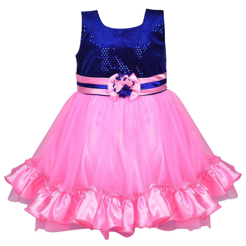 Baby Girls Party Wear Frock Dress fr130pnk -  Wish Karo Dresses