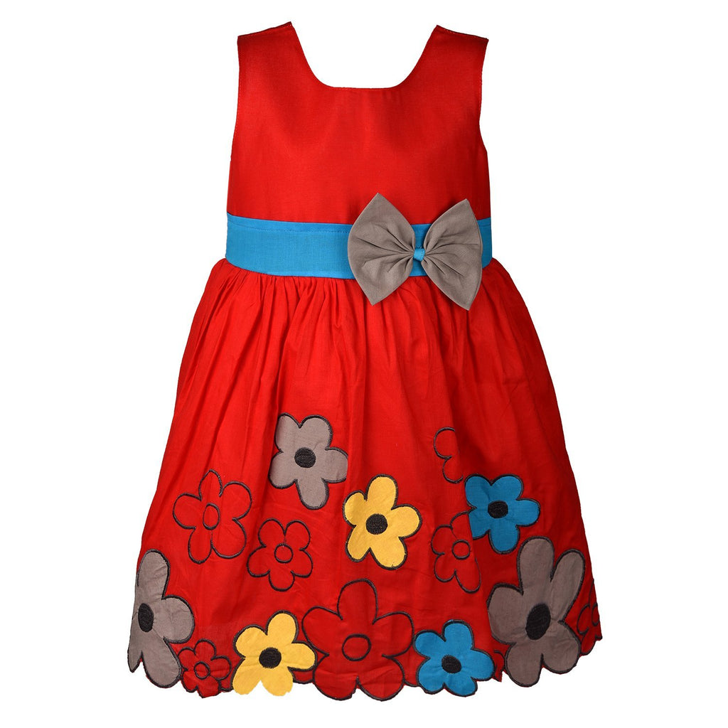 Baby Girl Cotton Frock Dress Ctn009rd -  Wish Karo Dresses