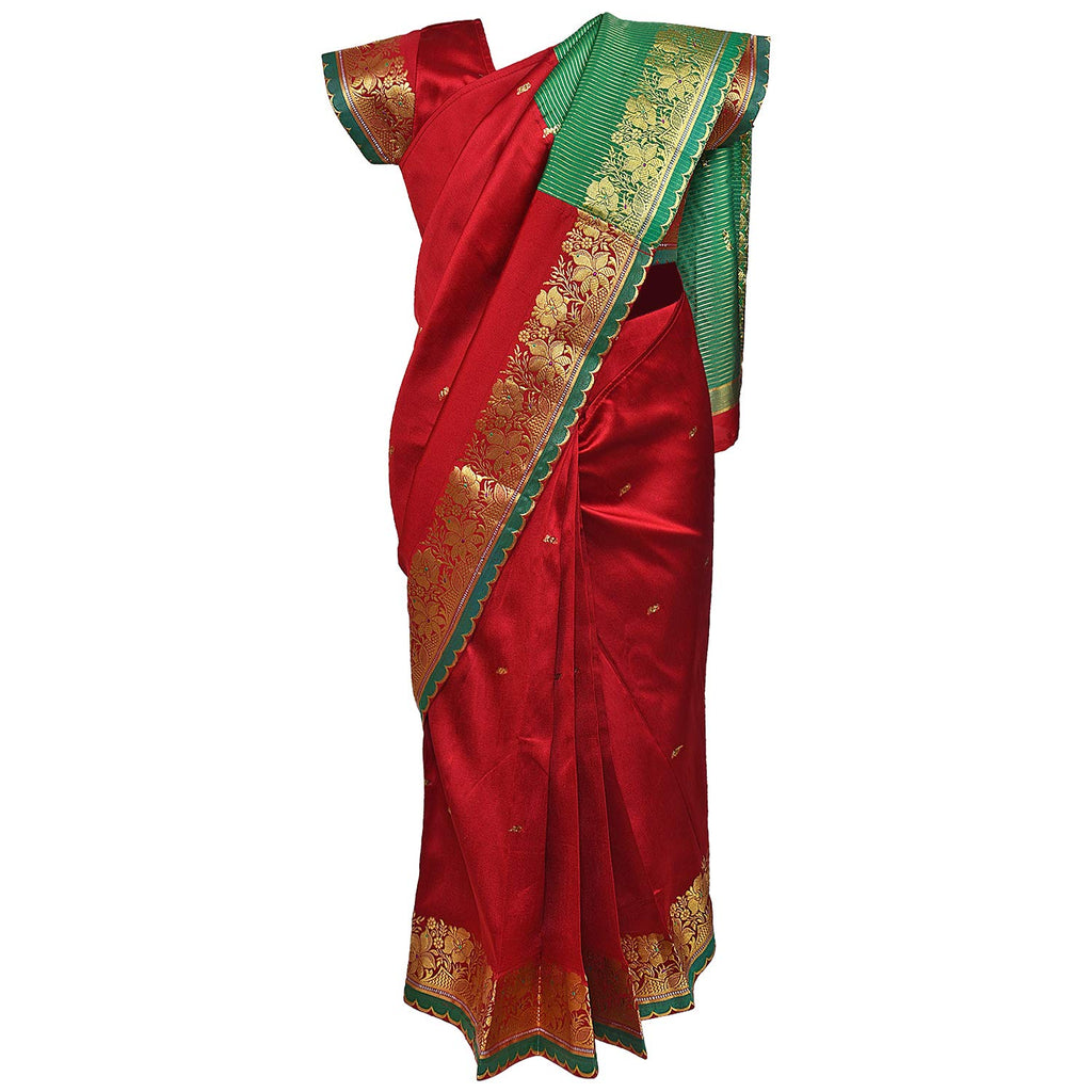 Traditional Art Silk Stitched Saree for Girls-sr01mrn