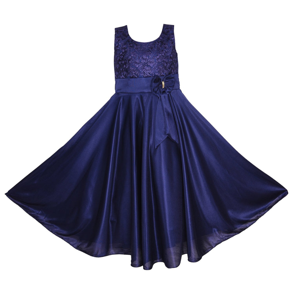 Women Partywear Long Dress Gown DN - (WLF138) blu -  Wish Karo Dresses