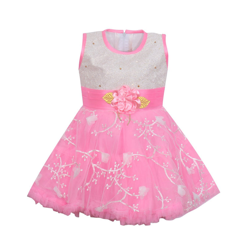 Baby Girls Party Wear Frock Dress fe2172bpnk -  Wish Karo Dresses