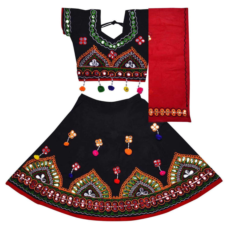 Girl's Cotton Ghaghra Choli, Leghnga Choli, Chania Choli 143blk -  Wish Karo Dresses