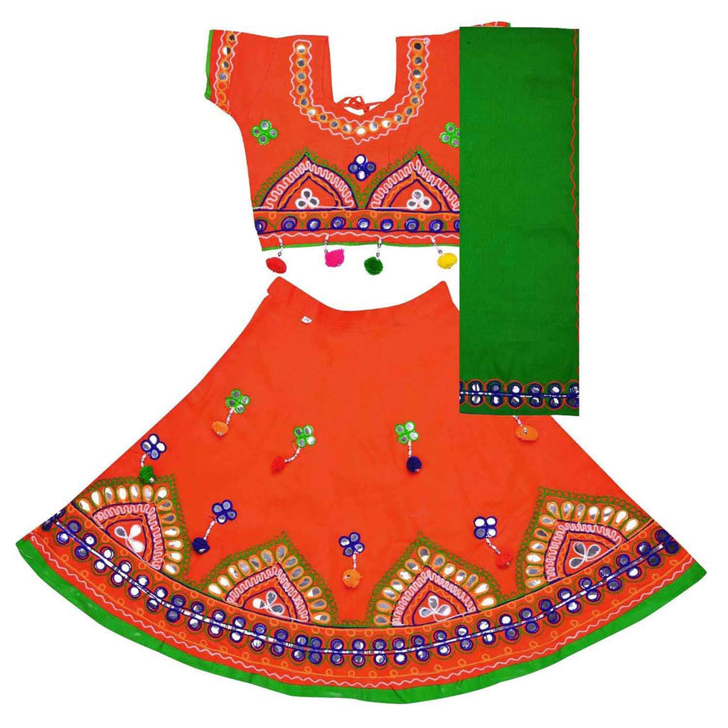 Girl's Cotton Ghaghra Choli, Leghnga Choli, Chania Choli 143org -  Wish Karo Dresses