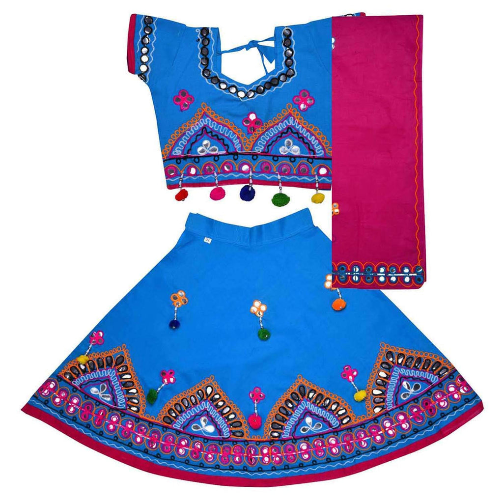 Girl's Cotton Ghaghra Choli, Leghnga Choli, Chania Choli 143blu -  Wish Karo Dresses