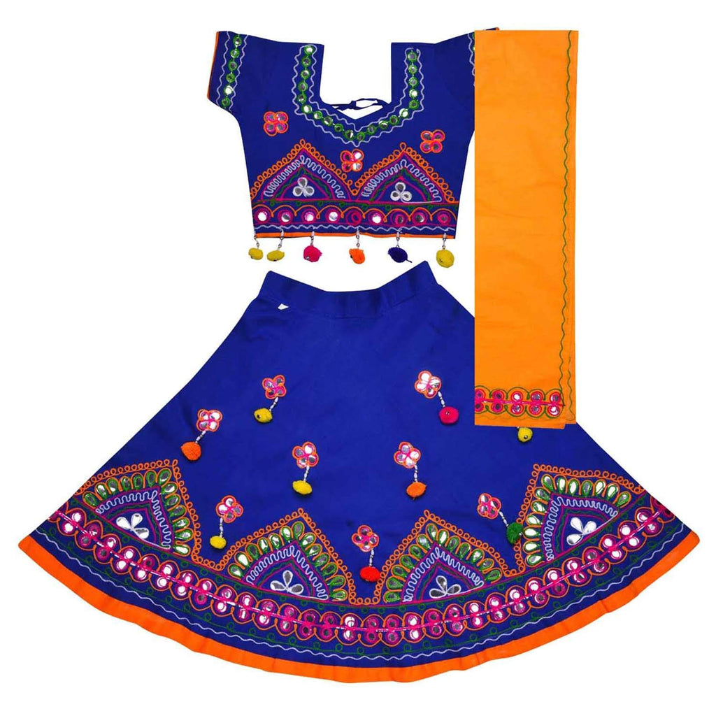 Girl's Cotton Ghaghra Choli, Leghnga Choli, Chania Choli 143darkblue -  Wish Karo Dresses