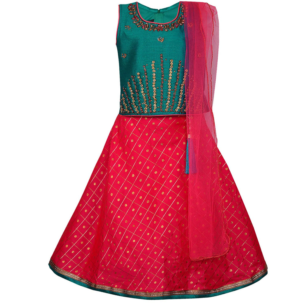 Baby Girl's Stitched Ghaghra Choli, Lehnga Choli, Chania Choli Ethnic Wear for Girls-gc201grn