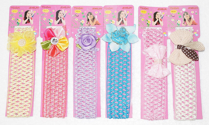 Set Of 6 Pcs Multi Color Crochet Style Elastic Hairbands -  Wish Karo Dresses