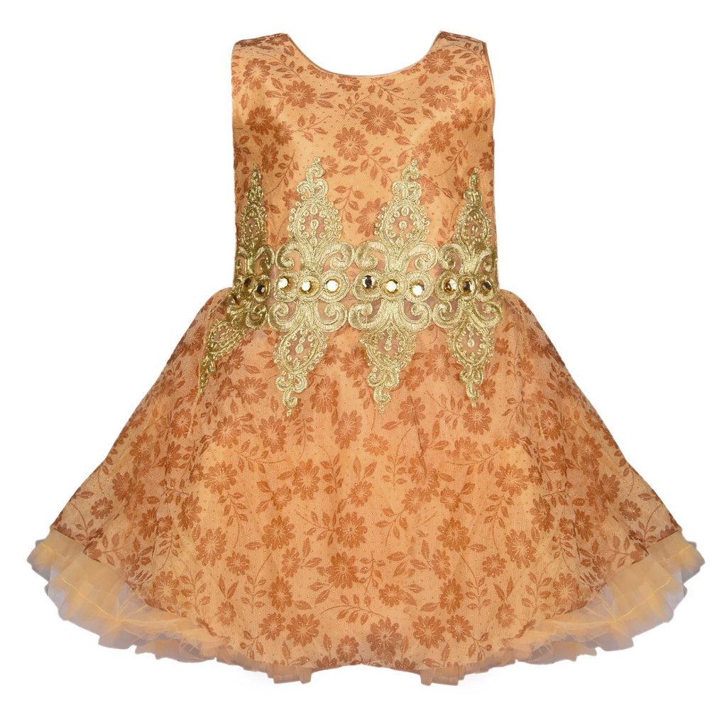 Baby Girls Party Wear Frock Dress fe2154gold -  Wish Karo Dresses