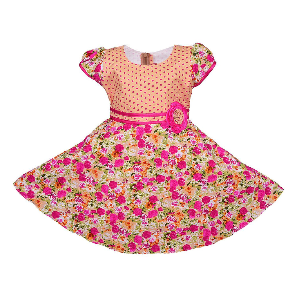 Baby Girls Cotton Frock Dress Ctn254pnk -  Wish Karo Dresses