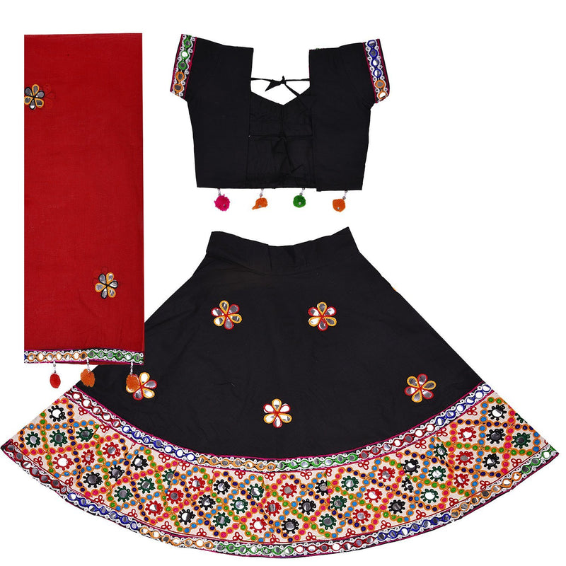 Girl's  Ghaghra Choli GC 126blk -  Wish Karo Dresses