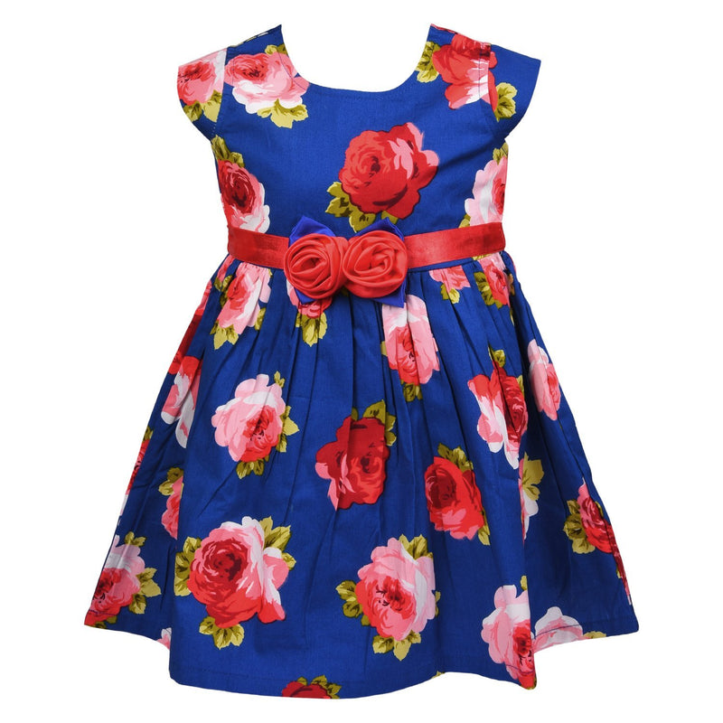 Baby Girls Cotton Frock Dress Ctn103blu -  Wish Karo Dresses