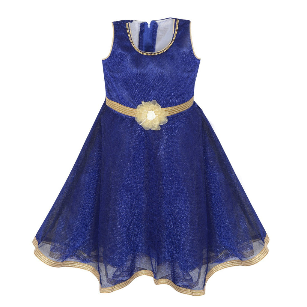 19f7e43593 Girls Long Frock LF121blu - Wish Karo Dresses