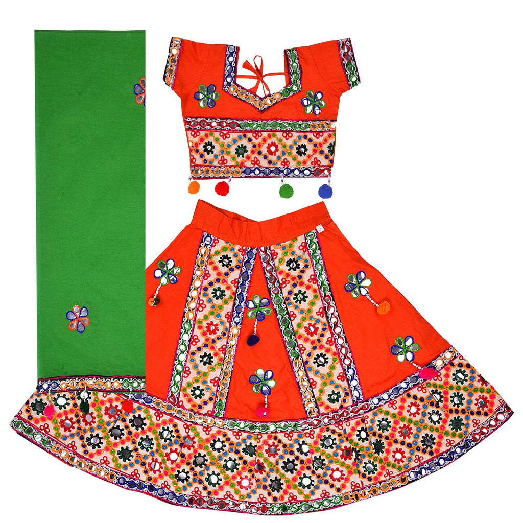 Girl's  Ghaghra Choli GC 126org -  Wish Karo Dresses