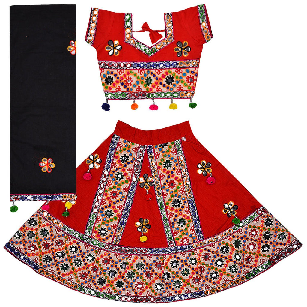 Girl's  Ghaghra Choli GC 126red -  Wish Karo Dresses