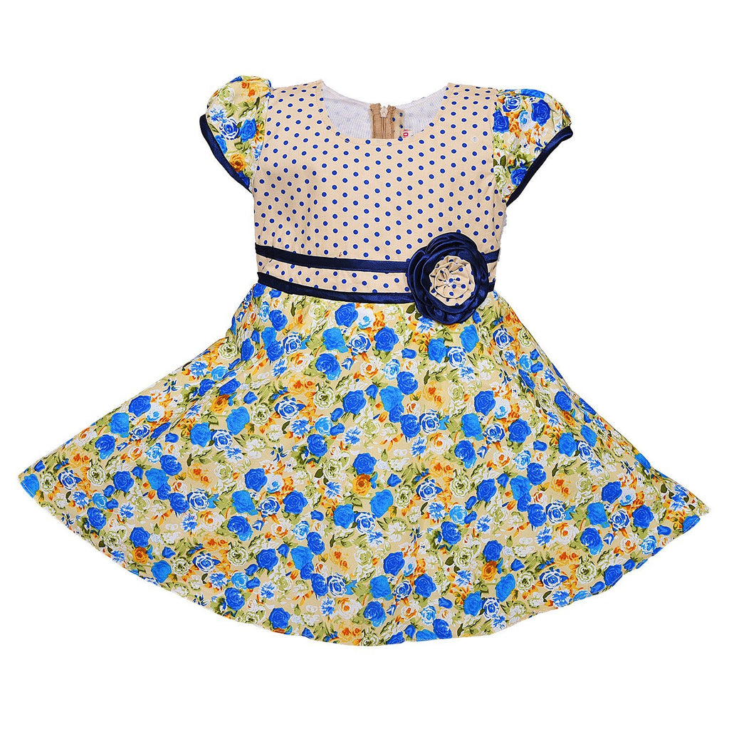 Baby Girls cotton Frock ctn254blu -  Wish Karo Dresses