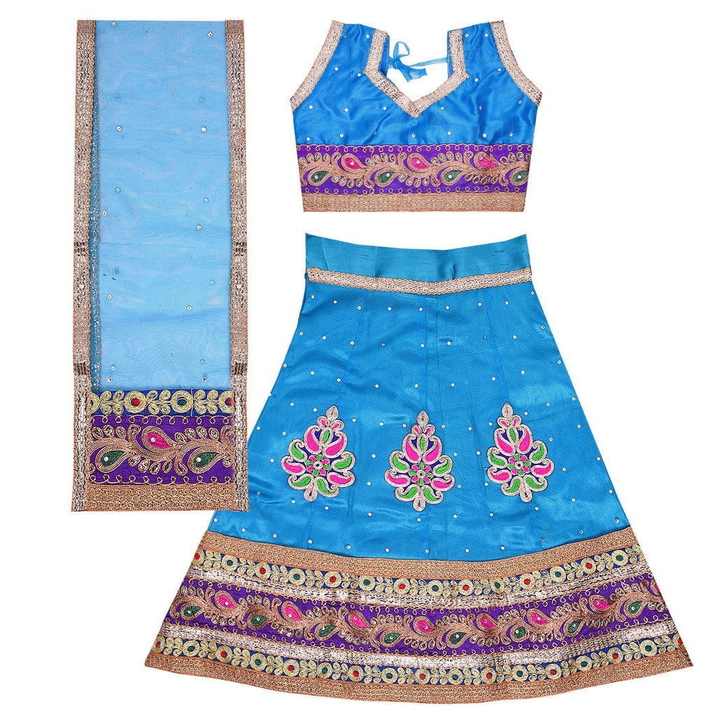 Girl's Leghnga Choli GC 127sblu -  Wish Karo Dresses