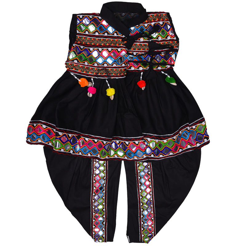 Boys Sleeveless Hand Embroidered Kedia Set BD143blk