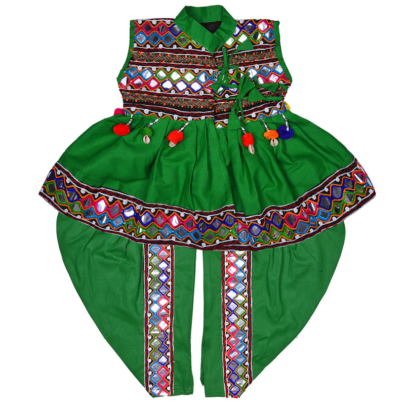 Boys Sleeveless Hand Embroidered Kedia Set BD143grn