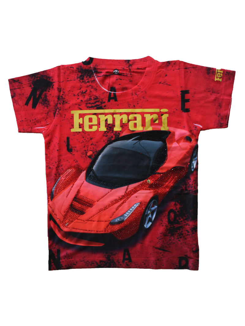 Wish Karo | Boys Ferrari Tshirt Red