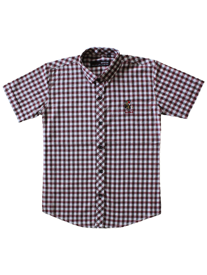 Wish Karo | Boys Checked Shirt Maroon
