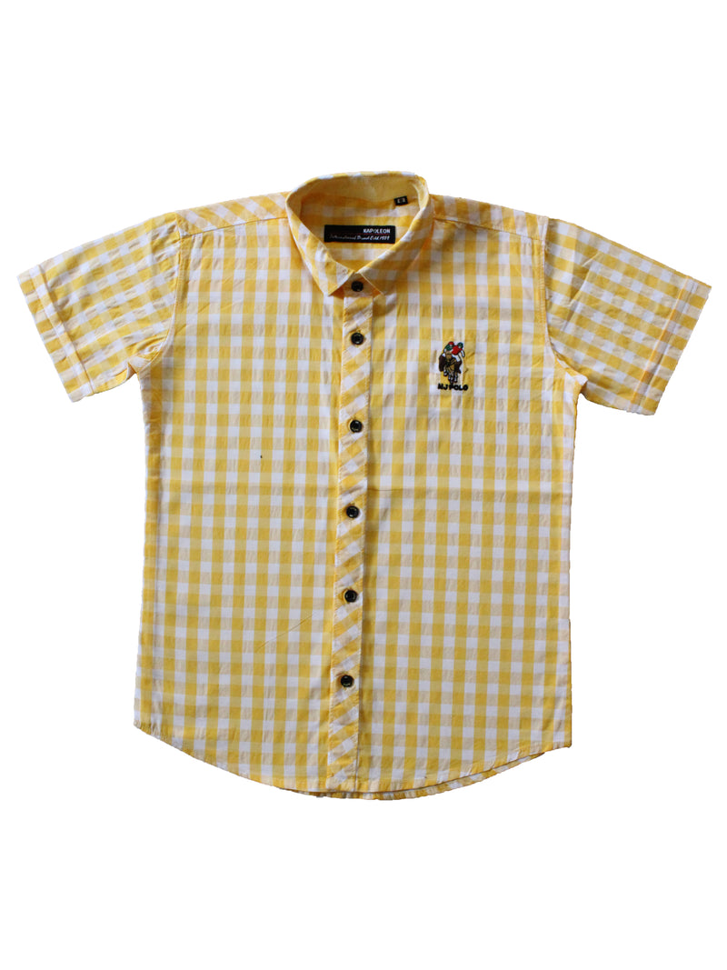 Wish Karo | Boys Checked Shirt Yellow