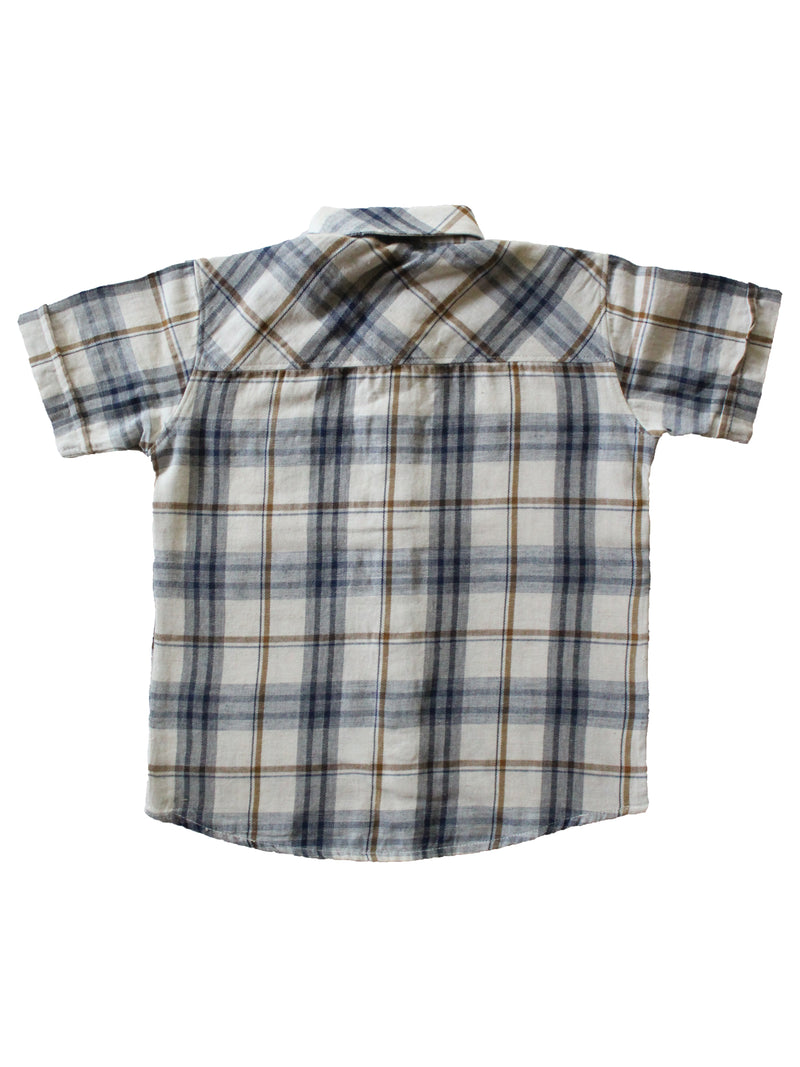 Wish Karo | Boys Checked Shirt White & Blue