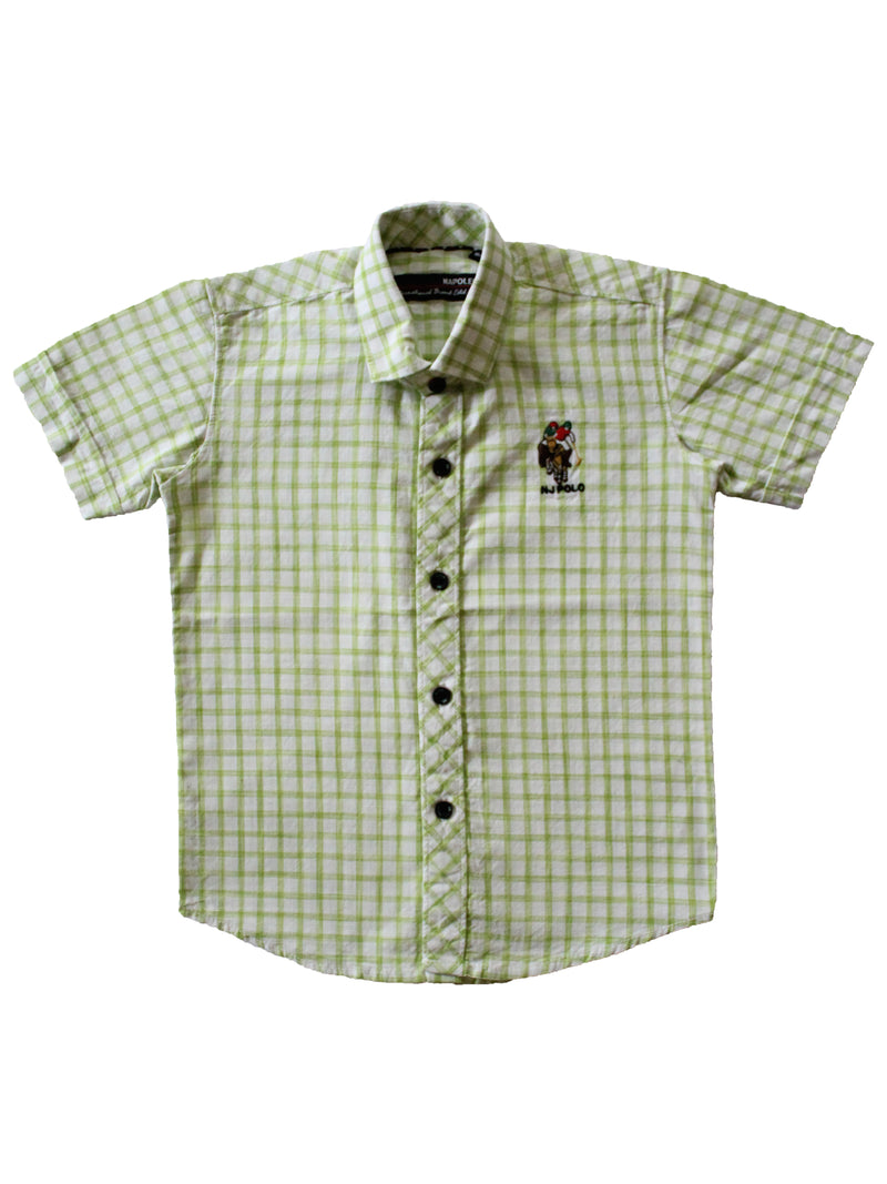 Wish Karo | Boys Checked Shirt Light Green