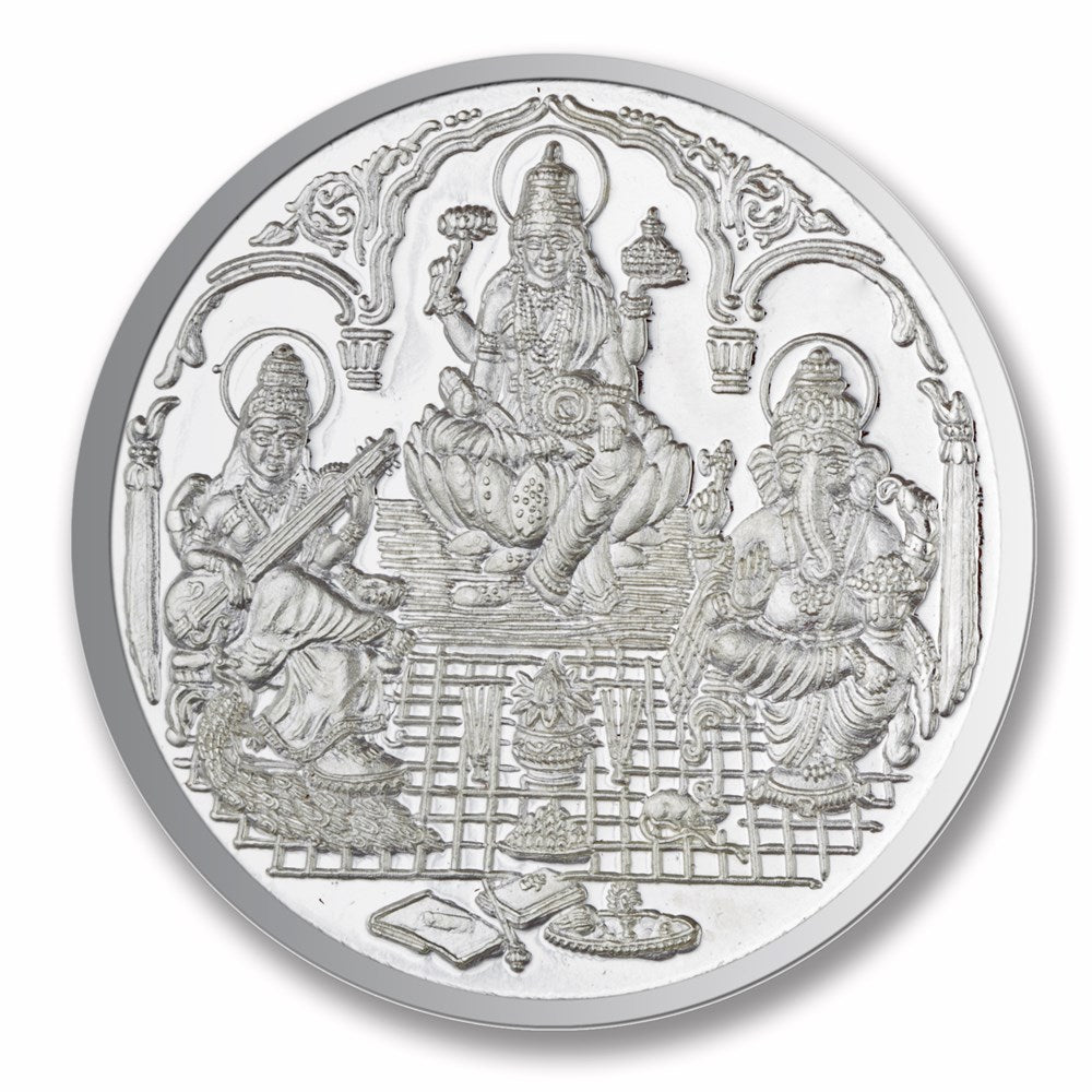 Trimurti Shree Silver Coin ( 10 gms) -  Wish Karo Dresses