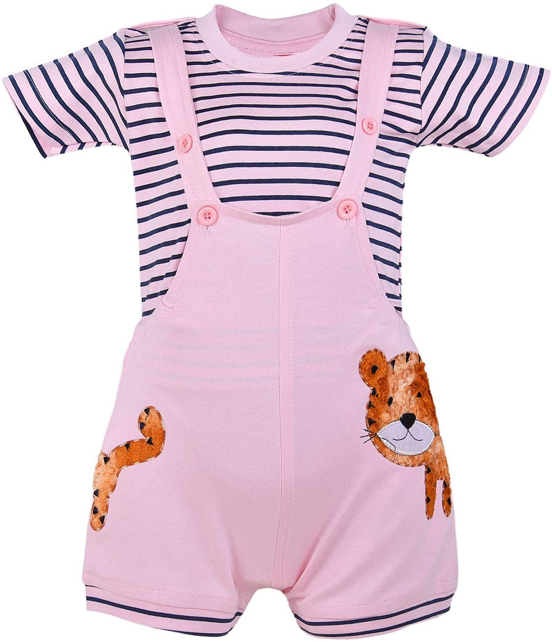Wish Karo Unisex Dungaree Dress for Baby Boys-Baby Girls-(bt34bpnk)