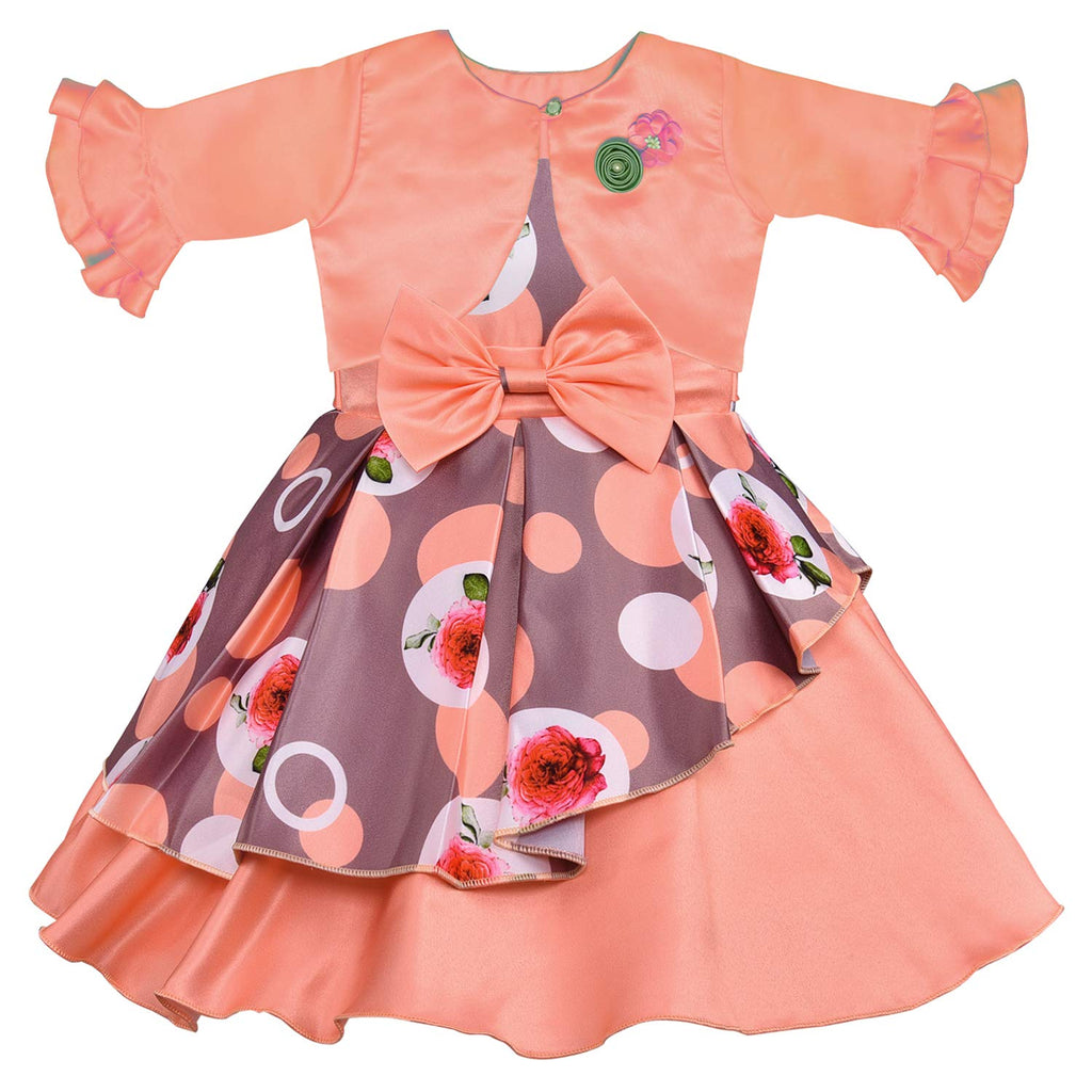 Wish Karo Baby Girls Partywear Frocks Dress For Girls with Jacket (fe2803org)