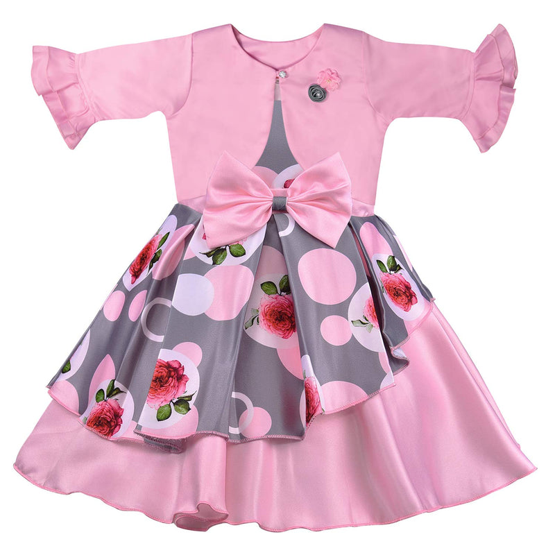 Wish Karo Baby Girls Partywear Frocks Dress For Girls with Jacket (fe2803pnk)