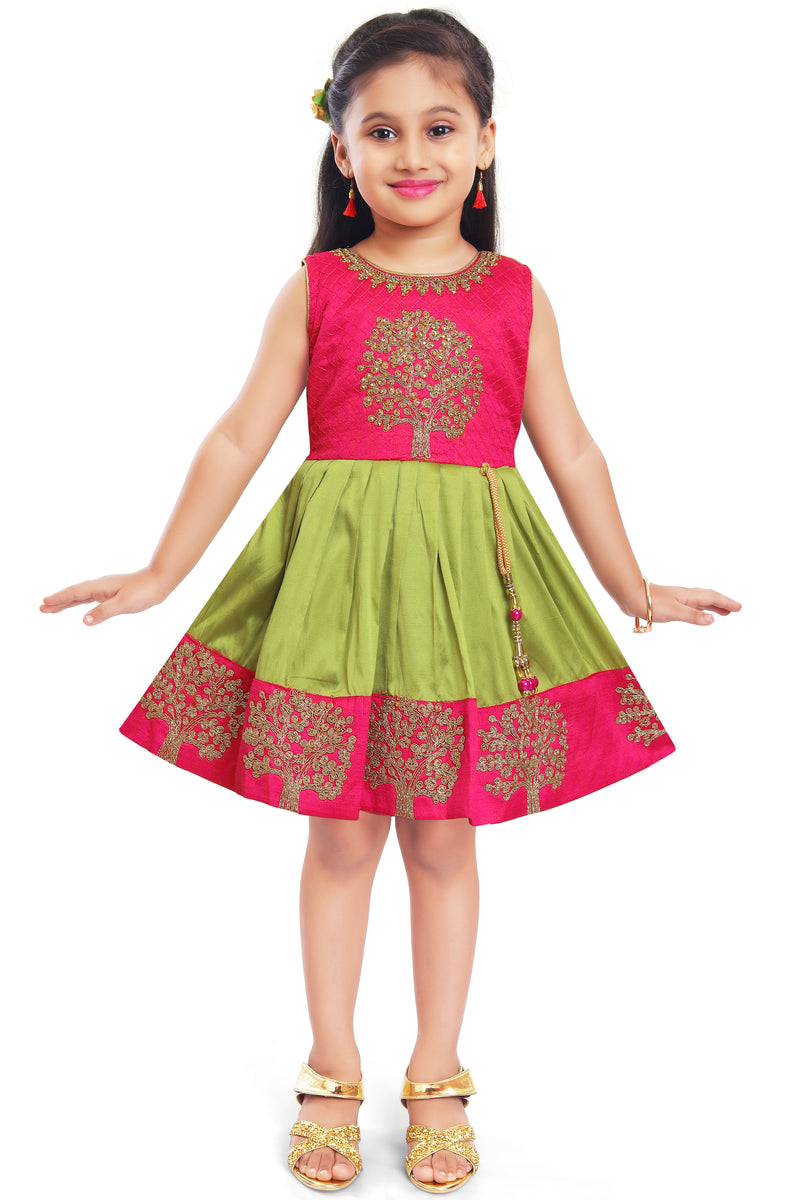 Wish Karo Baby Girls Partywear Frocks Dress For Girls (fe2913grn)